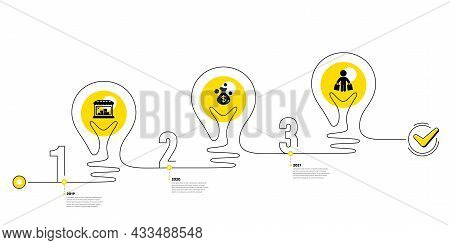 Lightbulb Journey Path Infographics. Trade Infographic Timeline With 3 Steps. Shopping Process Diagr