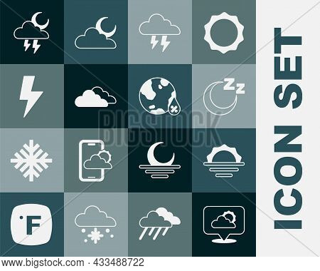 Set Location Cloud, Sunrise, Time To Sleep, Storm, Cloud, Lightning Bolt, And Water Drop Percentage