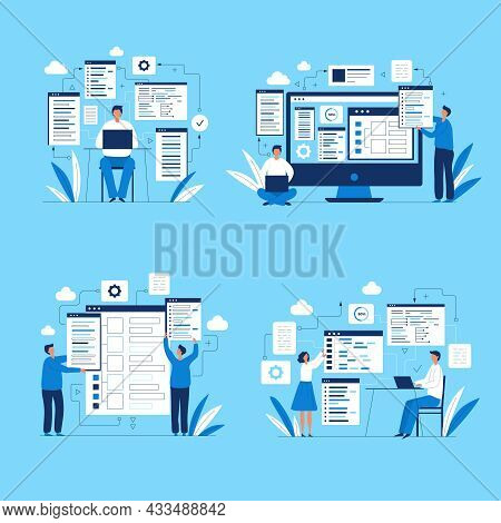 Programmers Characters. People Web Designers Developers Ui Layout Production Codding Script Writers