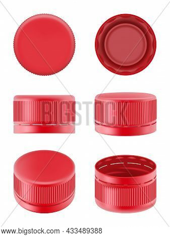 Bottle Caps. Colorful Realistic Plastic Caps For Food Containers Polyethylene Bottles For Water Drin