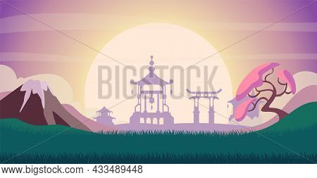 Japanese Landscape. Sunrise In Mountain, Asian Buildings Silhouettes. Colorful Meadow In Valley Vect