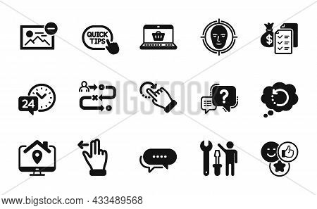 Vector Set Of Dots Message, 24h Service And Recovery Data Icons Simple Set. Online Shopping, Journey