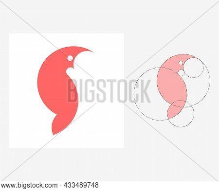 Vector Parrot In Golden Ratio Style. Editable Illustration