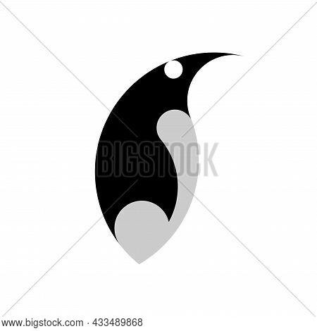 Vector Penguin In Golden Ratio Style. Editable Illustration