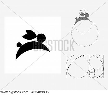 Vector Rabbit In Golden Ratio Style. Editable Illustration