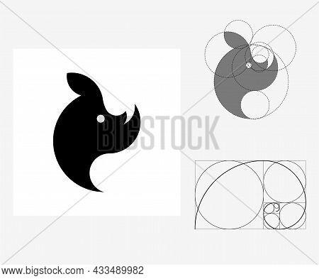 Vector Rhinoceros In Golden Ratio Style. Editable Illustration