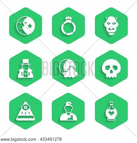 Set Moon And Stars, Wizard Warlock, Bottle With Love Potion, Skull, Masons, Magician, Mask Of The De