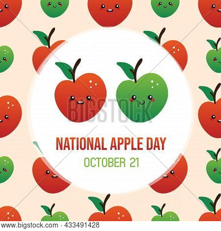 National Apple Day Greeting Card, Vector Illustration Cute Cartoon Style Smiling Red And Green Apple
