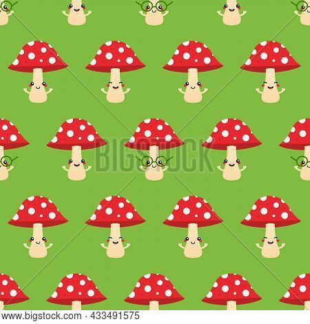 Cute Smiling Mushroom Characters With Dotted Red Caps Vector Seamless Pattern Background For Nature