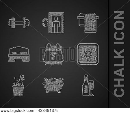 Set Hotel Booking Calendar, Bathtub, Champagne Bottle With Glass, Safe, Bottle Of Champagne, Room Be