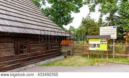 Milowka, Poland, 08.07.2021. Museum Izba Regionalna Stara Chalupa, Old Wooden Traditional Polish Hig