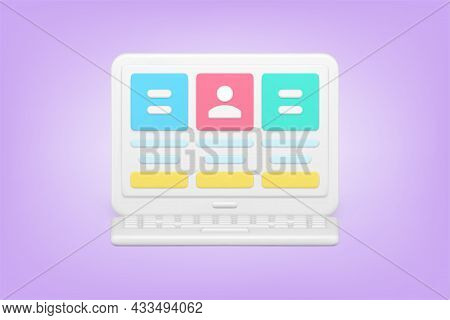 Online Characteristic Of Employee On Laptop Screen 3d Icon