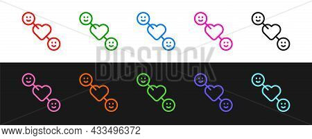 Set Line Romantic Relationship Icon Isolated On Black And White Background. Romantic Relationship Or