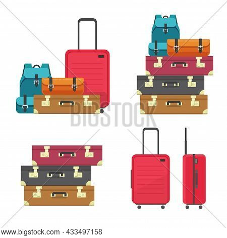 Luggage Bags Heap And Suitcase Plastic Case For Flight Or Travel Baggage Pile Stacked Isolated Clipa