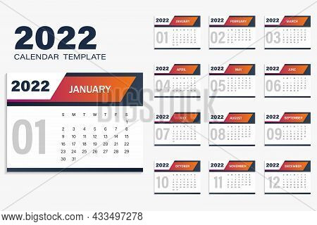 Calendar Template For 2022 In Yellow-blue Color. The Week Starts On Sunday. White Background Vector
