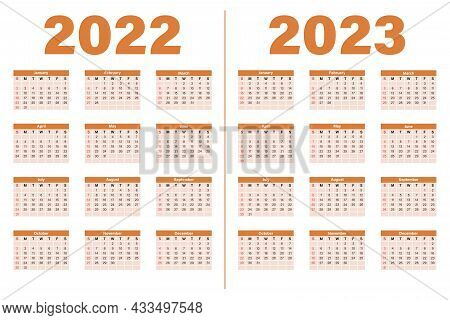 The Calendar Template For 2022-2023 Is Yellow. The Week Starts On Sunday. Sunday Is Highlighted In R