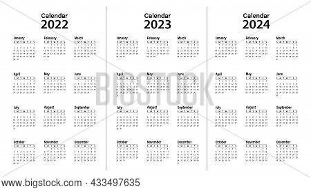Calendar Template For 2022, 2023 And 2024. Calendar Design In Black And White. The Week Starts On Su