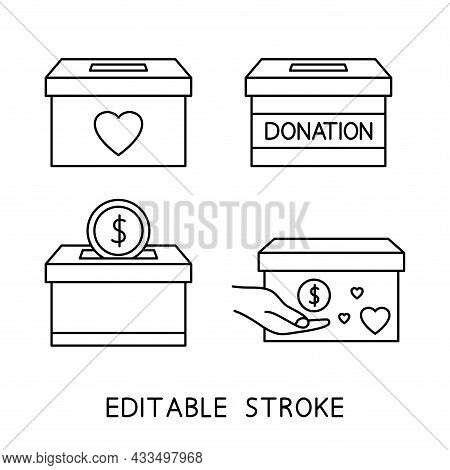 Donate Box Icon. Donation In The Box. Concept Of Charity And Donation. Give And Share Your Love With