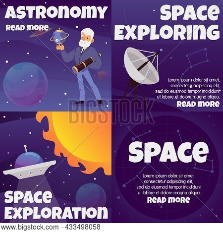 Outer Space Exploring Banners Set With Astronomer, Flat Vector Illustration.