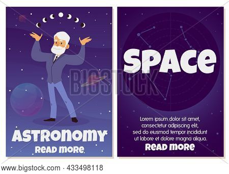 Astronomy And Space Study Banners Set With Astronomer Flat Vector Illustration.
