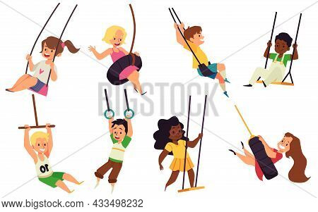 Set Of Happy Kids Boys And Girls Swinging On Rope Swings In Park Or Playground