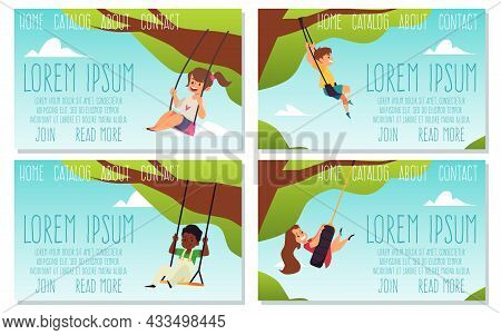 Set Of Web Banners With Happy Kid Swinging On Swing, Flat Vector Illustration.