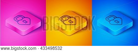 Isometric Line Castle In The Shape Of A Heart Icon Isolated On Pink And Orange, Blue Background. Loc