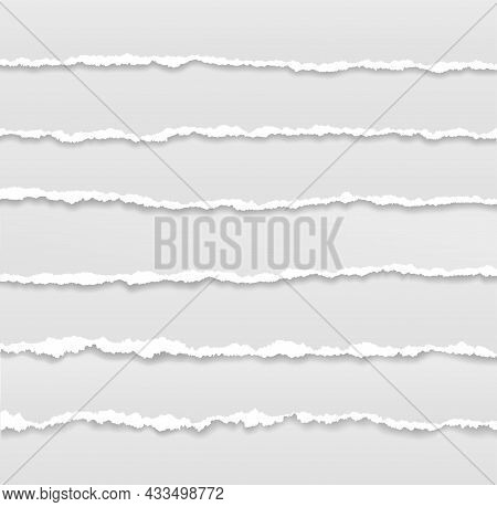 Torn Page Borders. Ripped Edges Paper Banner, Header Design. Tear Of Sheets, Rough Grunge Texture St