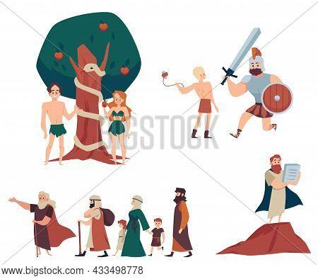 Old Testament Biblical Narratives Set, Flat Vector Illustration Isolated.