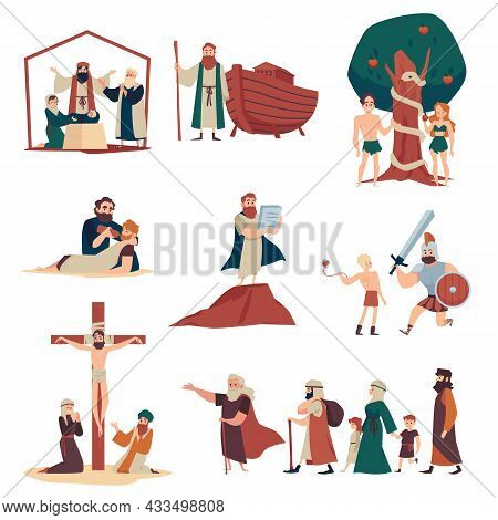 Bible Narratives And Religious Moral Stories, Flat Vector Illustration Isolated.
