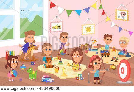 Kids Play In Kindergarten. Cute Cartoon Toddler, Child Playing. Preschoolers Characters In Class, Fr
