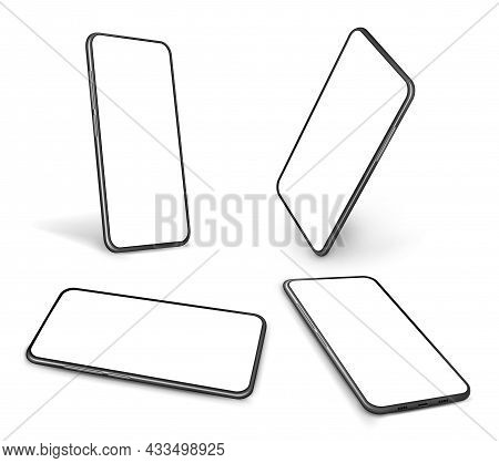 Realistic Smartphone Mockup. Isolated Tech, Mobile Phone In Perspective. Smart Mobiles Different Ang