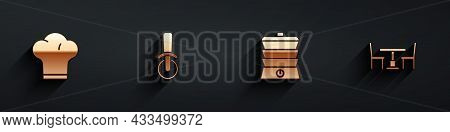 Set Chef Hat, Pizza Knife, Slow Cooker And Wooden Table With Chair Icon With Long Shadow. Vector