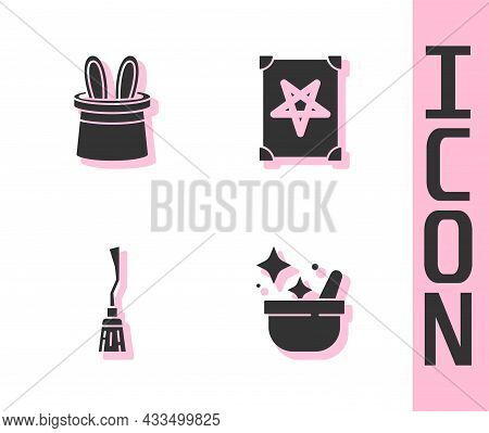 Set Witch Cauldron, Magician Hat And Rabbit Ears, Witches Broom And Ancient Magic Book Icon. Vector