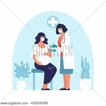 Pregnant Woman At The Doctor, A Nurse Giving An Injection To Momduring Pregnancy, Vaccinations And A