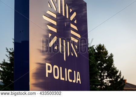 Milowka, Poland, 08.07.2021. Signboard In Front Of The Polish Station With New Polish Police (policj