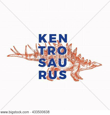 Prehistoric Dinosaur Abstract Sign, Symbol Or Logo Template. Hand Drawn Kentrosaurus Reptile With Mo