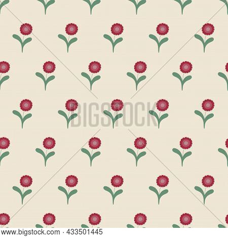 Colorful Seamless Floral Pattern - Hand Drawn Delicate Design. Vintage Trendy Background. Vector Ill