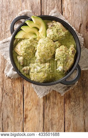 Guatemalan Green Chicken Stew Is More Commonly Known As Chicken Stew With Tomatillos Close Up In The