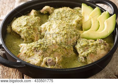 Jocon Recipe Guatemalan Chicken In Salsa Verde With Fresh Avocado Close Up In The Plate On The Table