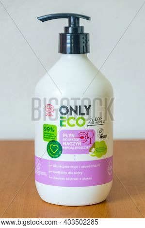 Deblin, Poland - June 8, 2021: Only Eco Ecological Washing-up Liquid.