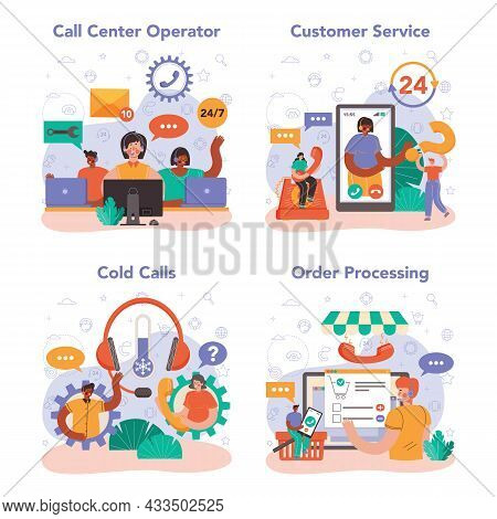 Call Center Or Technical Support Concept Set. Idea Of A Customer Service