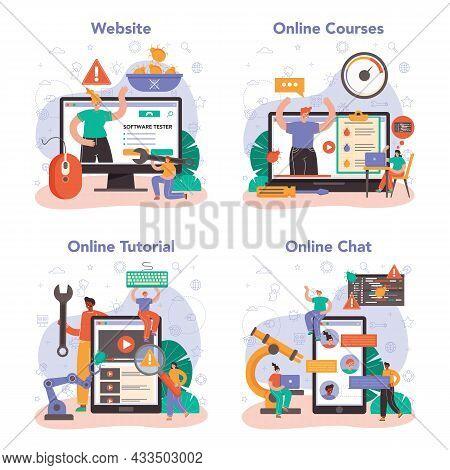 Software Tester Online Service Or Platform Set. Application Or Website