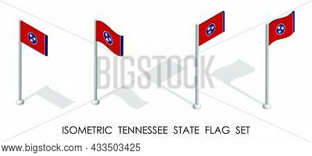 Isometric Flag Of American State Of Tennessee In Static Position And In Motion On Flagpole. 3d Vecto