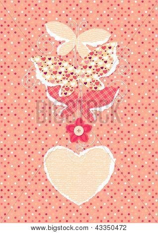Valentine's Day Background With Butterflies