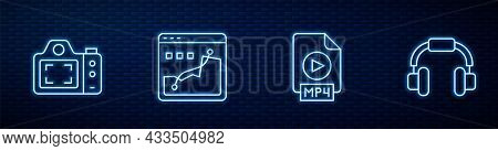 Set Line Mp4 File Document, Photo Camera, Histogram Graph Photography And Headphones. Glowing Neon I