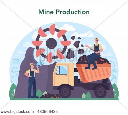 Ferrous Metallurgy Concept. Steel Or Metal Extracting And Production