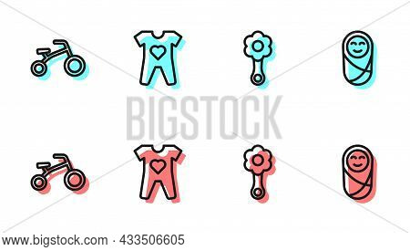 Set Line Rattle Baby Toy, Bicycle For Kids, Baby Clothes And Newborn Infant Swaddled Icon. Vector