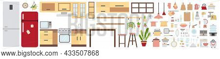 Kitchen Furniture And Equipment Set. Collection Of Home Kitchen Tools