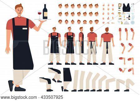Male Waiter Concept Constructor Set. Restaurant Staff In The Uniform